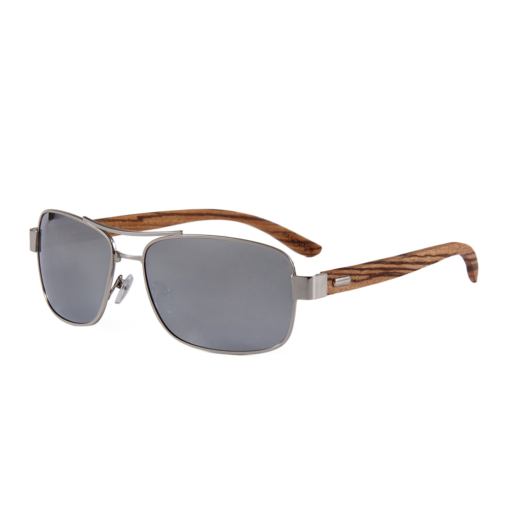 OPTA SG-025 Geometric Polarized Zebra Wood Sunglasses