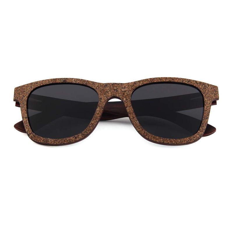 OPTA SG-032 Wayfarers Polarized Skateboard Wood Epidermal cork black sandalwood Sunglasses