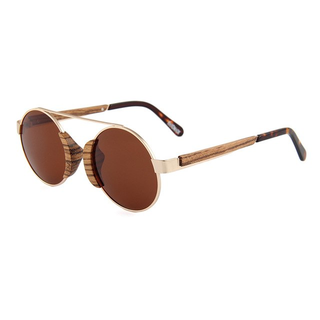 OPTA SG-051 Round Polarized Skateboard Zebra Wood Sunglasses