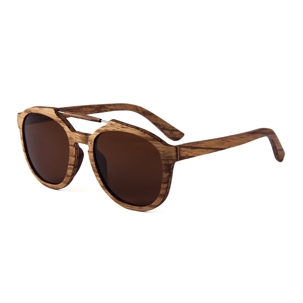 OPTA SG-036 Round Designer Polarized Skateboard Zebra Wood Sunglasses with 100% UV Protection for Unisex (skateboard Zebra Wood with Brown Lens)