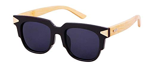 OPTA SG-004 Clubmaster Designer Polarized Bamboo Sunglasses with 100% UV Protection for Unisex (Black Full Rim Frame with Grey Lens)