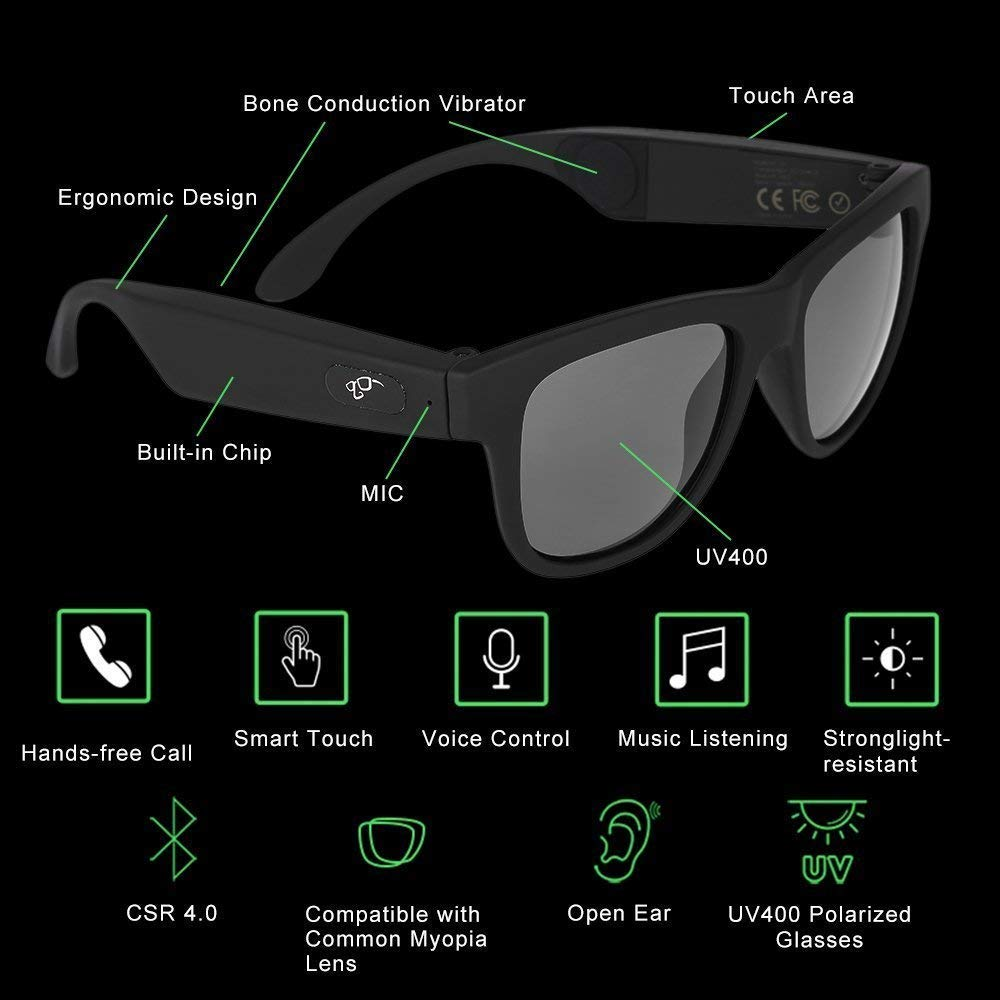 OPTA SG-054 Bone Conduction Polarized Bluetooth Audio Sunglasses