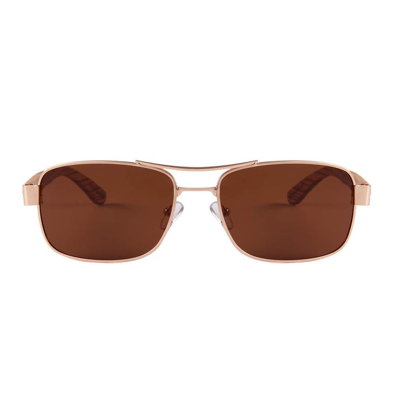OPTA SG-024 Geometric Polarized Zebra Wood Sunglasses