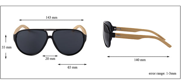 OPTA SG-006 Aviator Designer Polarized Bamboo Sunglasses with 100% UV Protection for Unisex (White Full Rim Frame with Black Lens)
