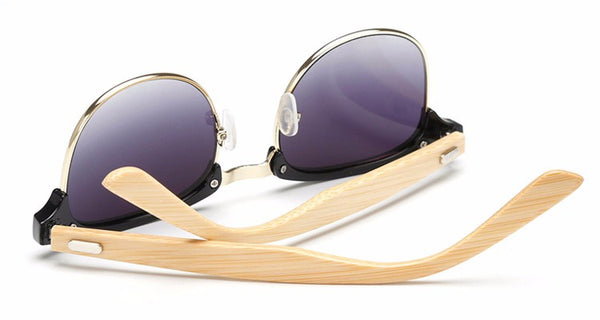 OPTA SG-002 Clubmaster Retro Designer Polarized Bamboo Sunglasses with 100% UV Protection for Unisex (Black Half Rim Frame with Grey Lens)