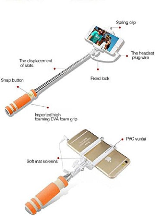 OPTA Mini Selfie Stick with an Auxiliary Cable and keystroke