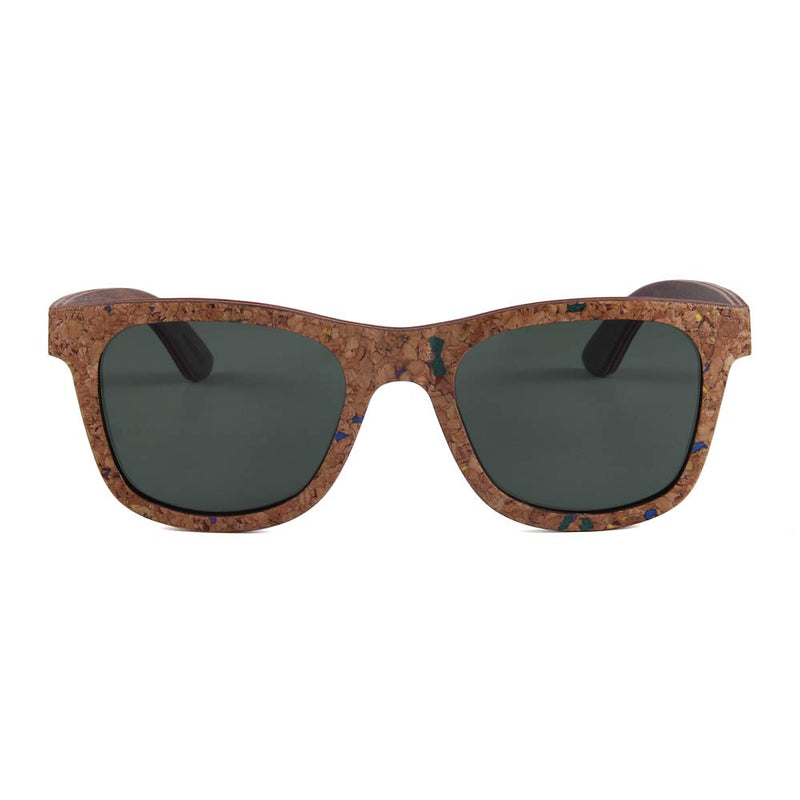 OPTA SG-034 Wayfarers Polarized Skateboard Wood cork walnut interbedded Sunglasses