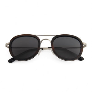 OPTA SG-039 Round Polarized Skateboard Ebony Wood Sunglasses