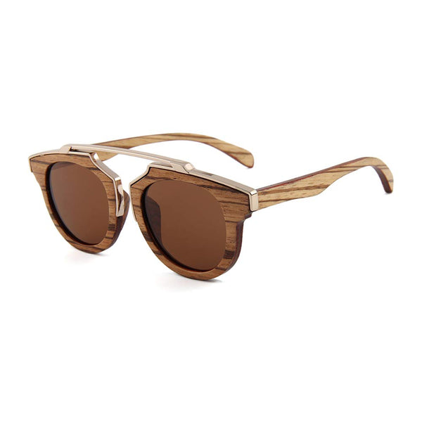 OPTA SG-043 Cateye Designer Polarized Skateboard Zebra Wood Sunglasses with 100% UV Protection for Unisex (Zebra Wood with Brown Lens)