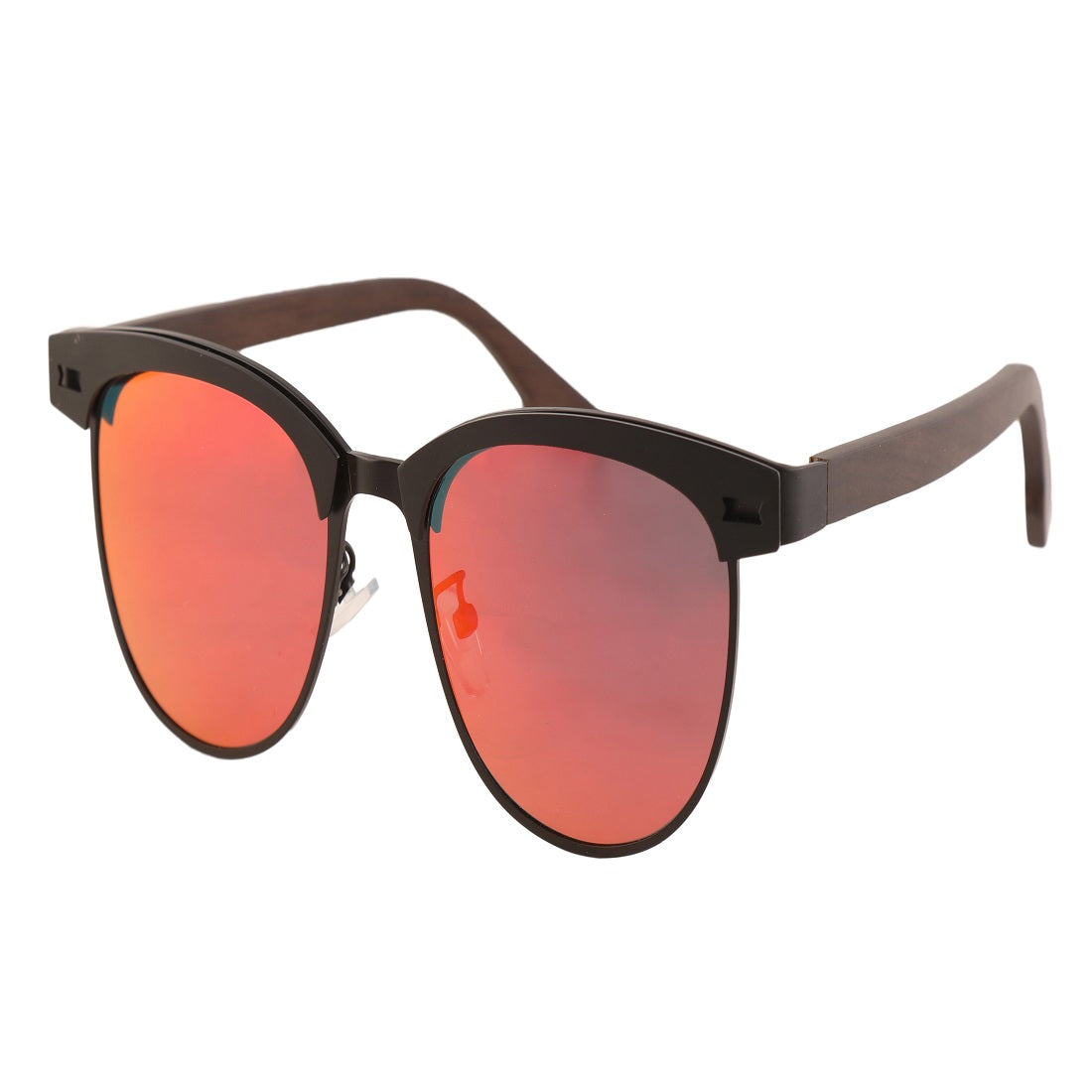 OPTA SG-015 Clubmaster Designer Polarized Ebony wood Sunglasses with 100% UV Protection for Unisex (Black Steel Full Rim Frame with Mirror Red Lens)