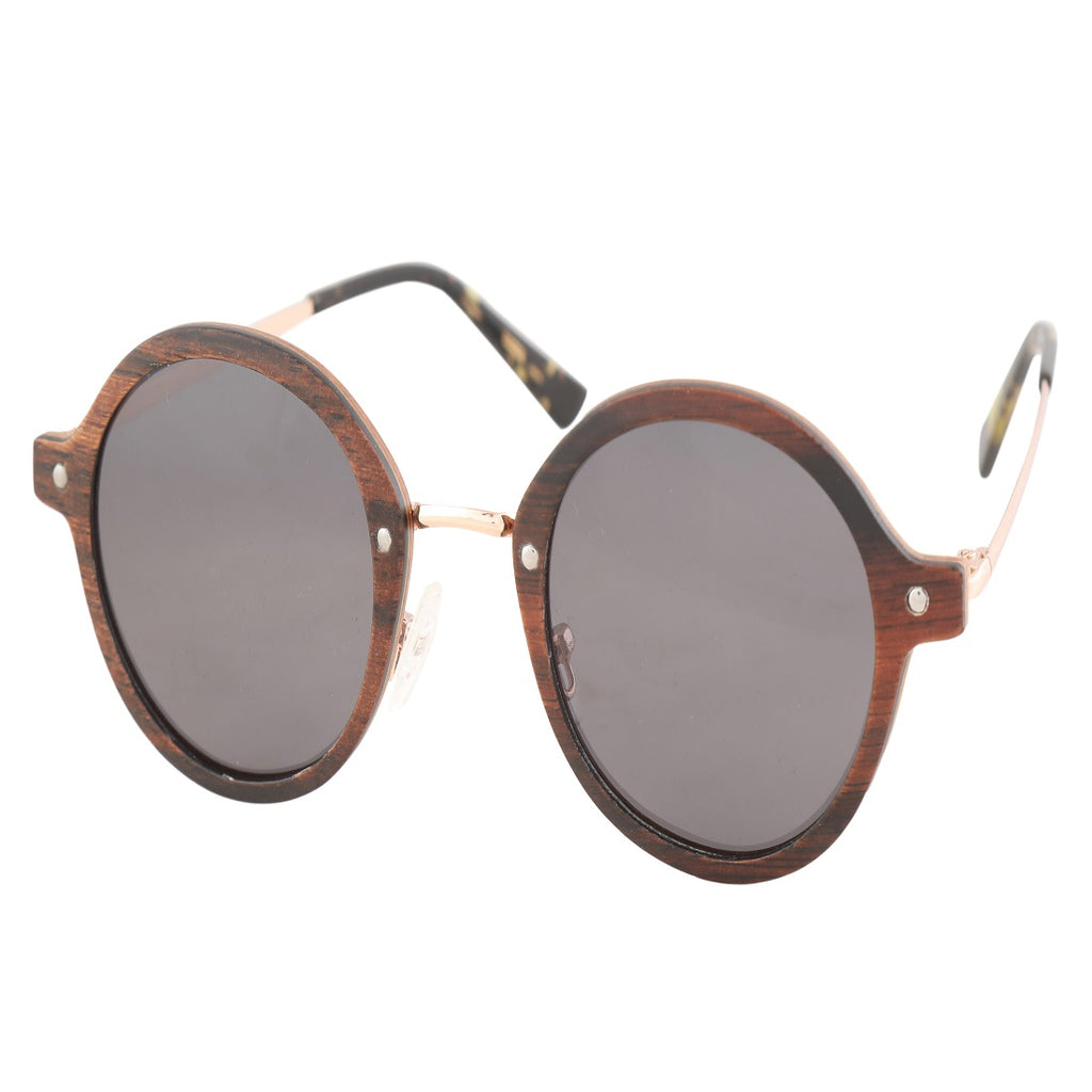 OPTA SG-017 Round Polarized Ebony Oak inter bedded wood Sunglasses