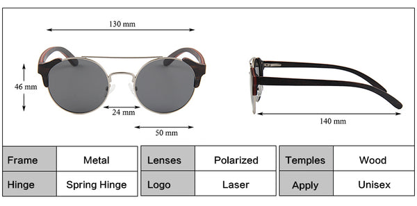 OPTA SG-048 Cateye Designer Polarized Skateboard Ebony Wood Stainless Steel Frame Sunglasses with 100% UV Protection for Unisex (Ebony Wood with Black Lens)