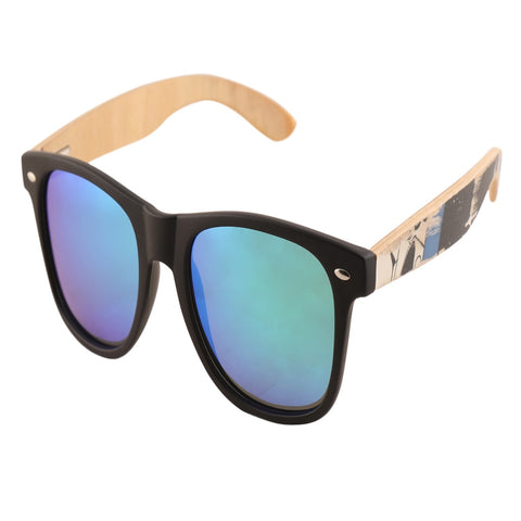 OPTA SG-018 Wayfarer Designer Polarized Skateboard wood Sunglasses with 100% UV Protection for Unisex (PC Frame with Mirror Green Lens)