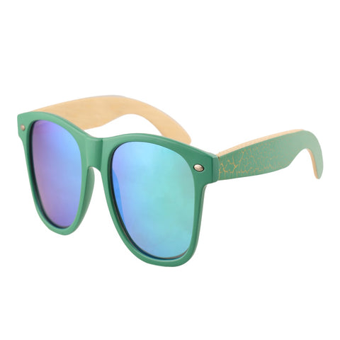 OPTA SG-019 Wayfarers Designer Polarized Bamboo Wood Sunglasses with 100% UV Protection for Unisex (Bamboo Wood with Mirror Green Lens)