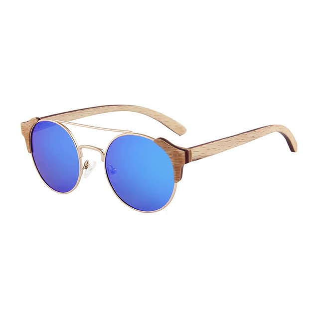 OPTA SG-049 Retro Round Beech Wood Metal Frame Polarized Vintage Sunglasses For Unisex(Metal Rim Frame with Blue Lens)