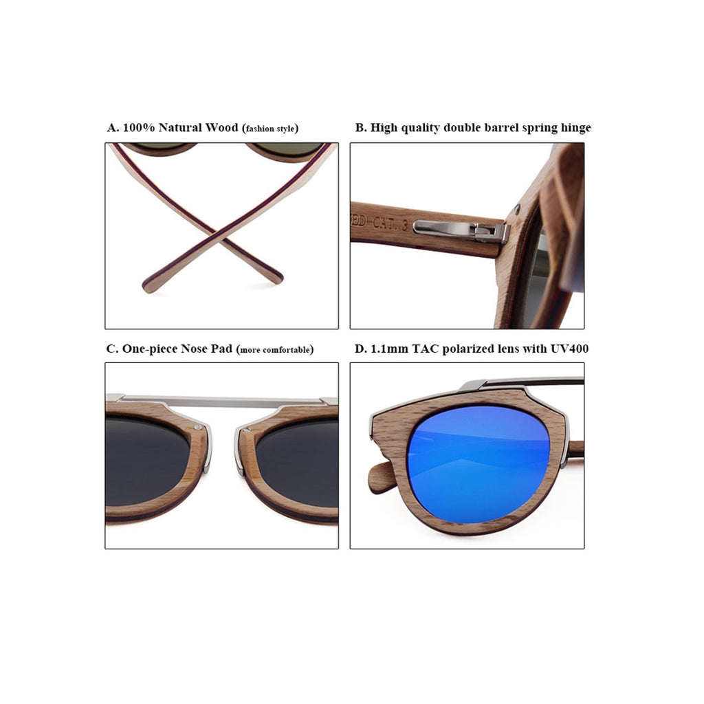 afd42809e ... OPTA SG-046 Cateye Designer Polarized Skateboard Red Zebra Wood  Sunglasses with 100% UV ...