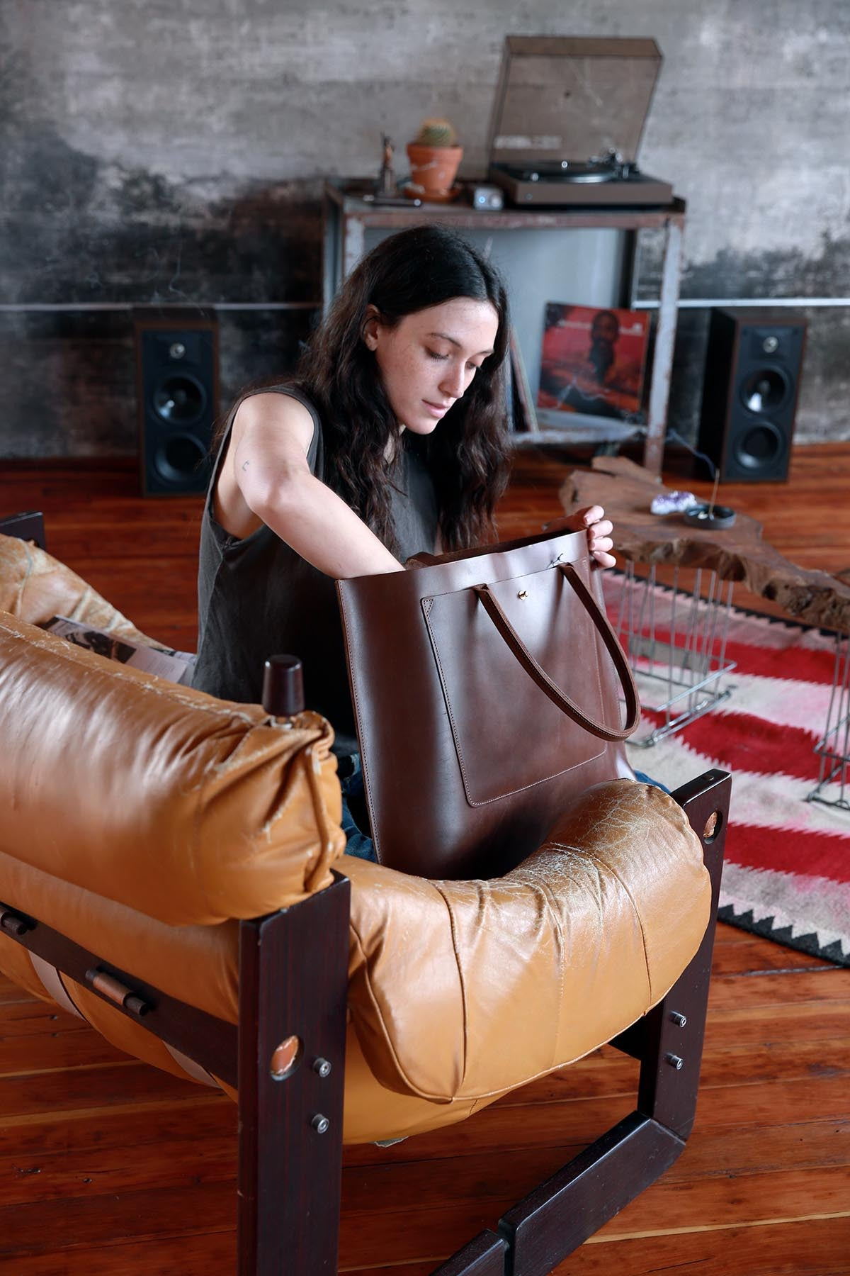 The Structured Tote in Cask Leather