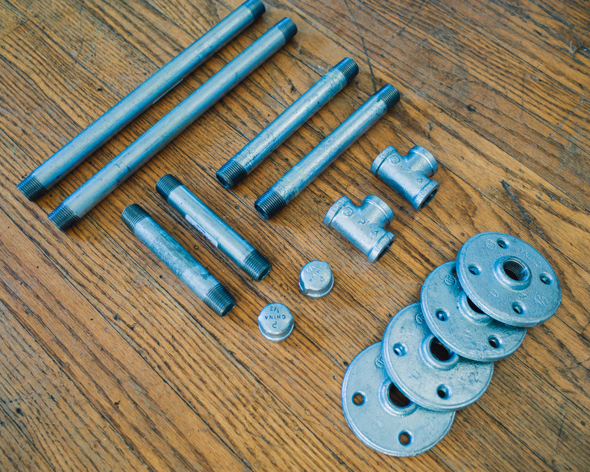 pipe and flanges for the shelf DIY