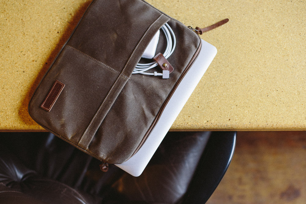 Waxed canvas computer sleeves for 13 and 15 inch laptops