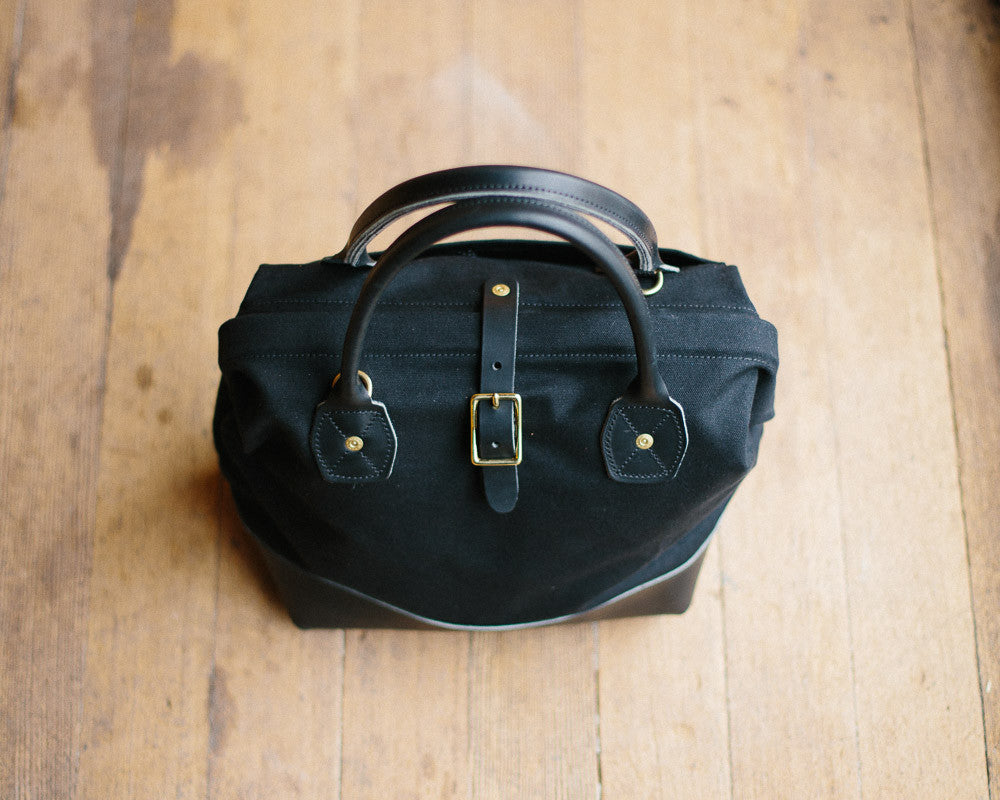 Black Sidecar bag, made in USA, canvas and leather