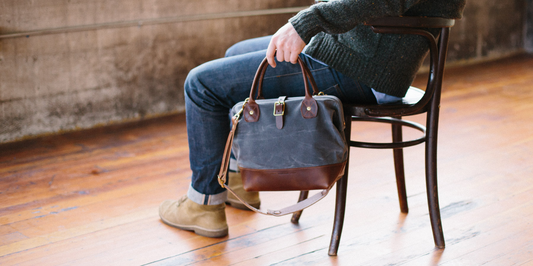 Waxed Canvas and Leather Bag, the Sidecar
