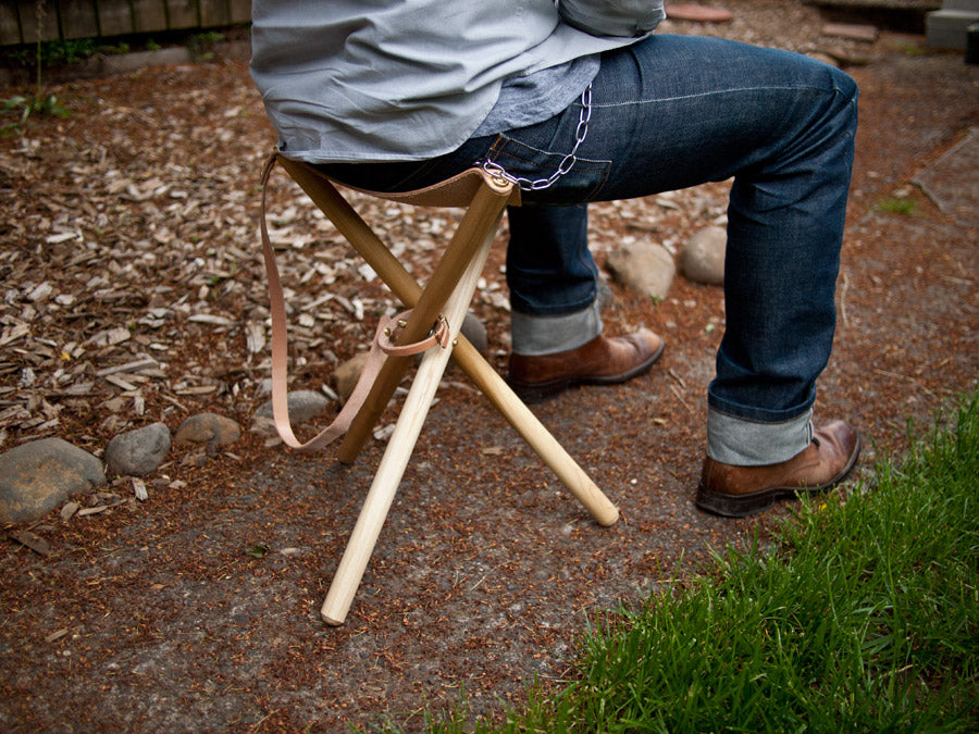 Folding Tripod Camp Stool Wood Amp Faulk