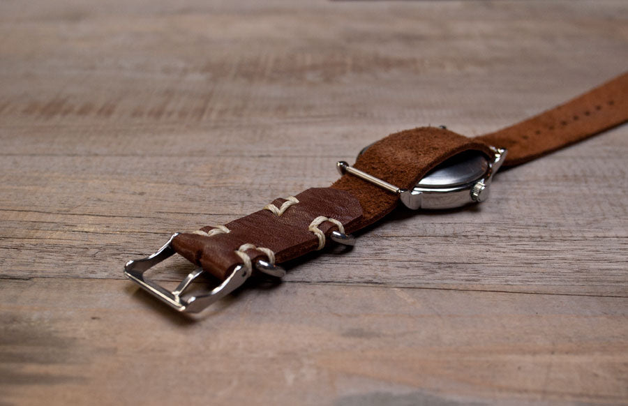 leather watchstrap wood faulk