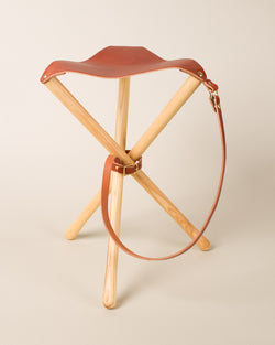 Amazing Leather Folding Tripod Camp Stool Chestnut Woodfaulk Ocoug Best Dining Table And Chair Ideas Images Ocougorg