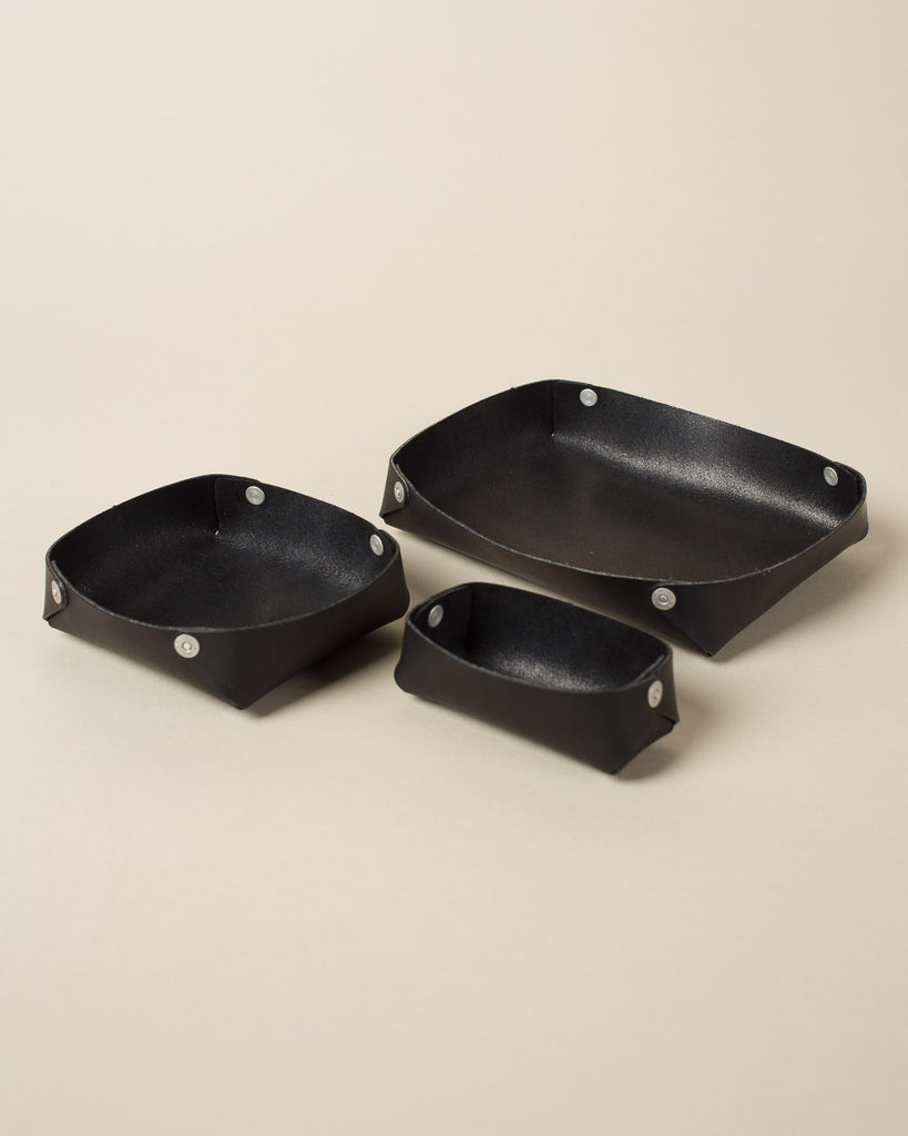 Leather Nesting Trays, Black