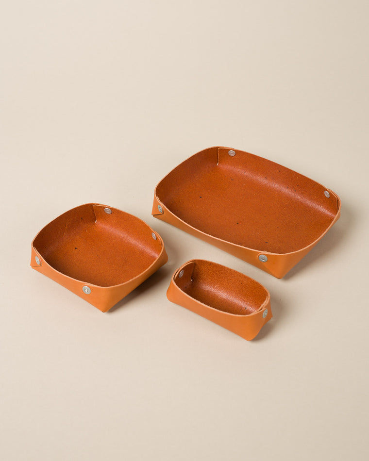Leather Nesting Trays, Tan