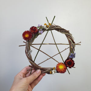 Pentagram Willow Wreath 9""