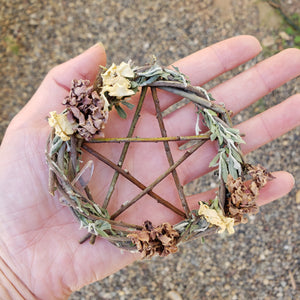 Pentagram Willow Wreath 4""