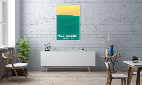 rolling hills peak district poster Hiking Gift, Outdoors Gift, Peak District Poster, Peak District Poster Print (Unframed)