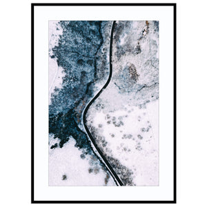 winding winter road Print (Unframed) A57 Photo, Abstract Aerial Photo, Aerial Print, Canvas Wall Art, Lodge