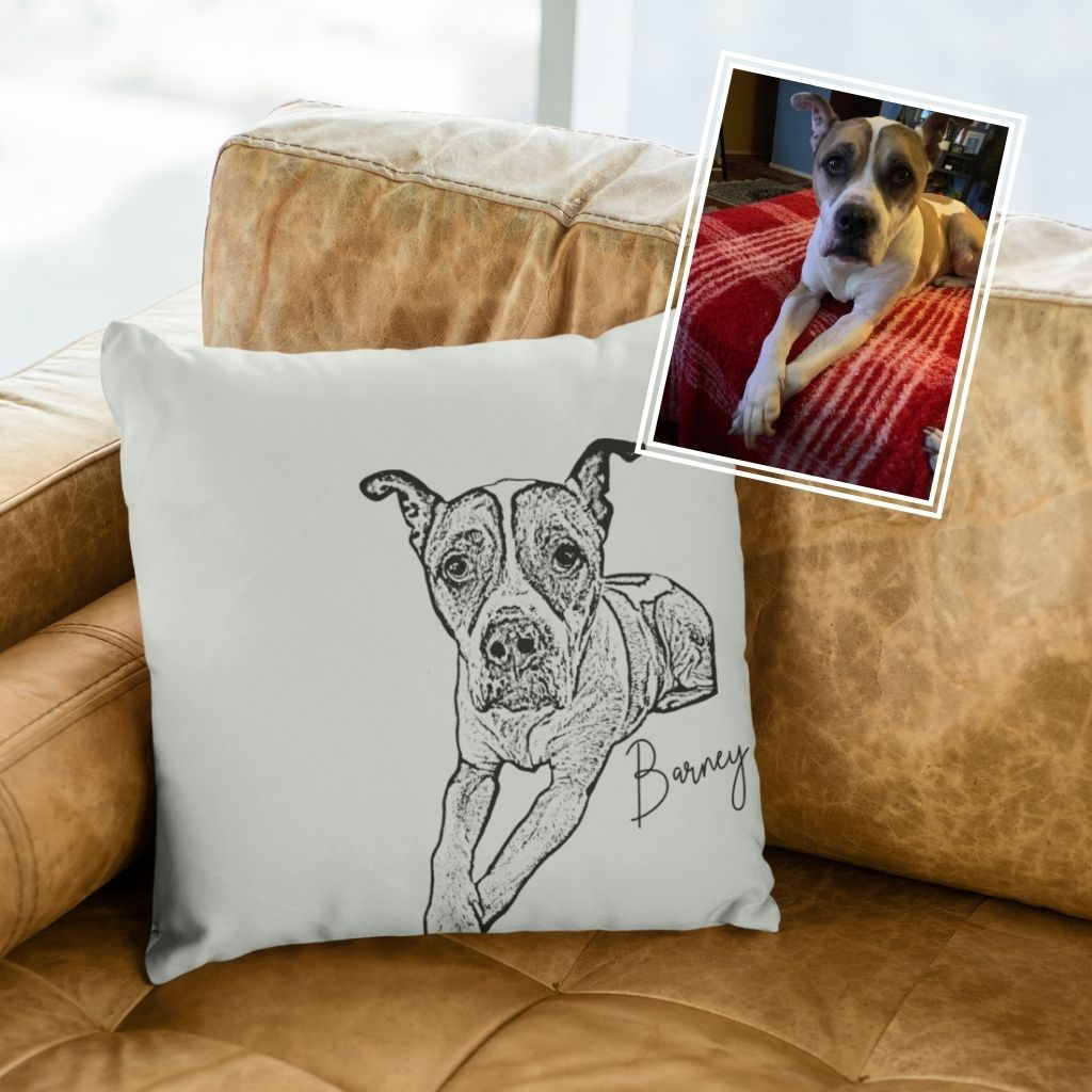GoodBarks Personalized Ink Portrait Pillow - GoodBarks