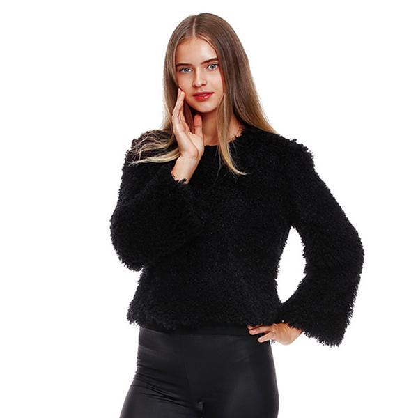 2018 New Arrival Wild Lamb's Wool Jacket Female Models Thick