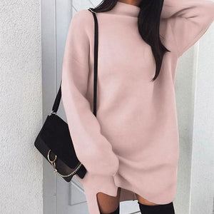 2018 New Arrival Women Daily Casual Long Sleeve Knitted Solid Dress