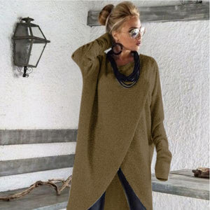 2018 Autumn Ladies Round Neck Irregular Hem Casual Fashion Shirt