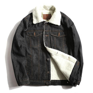 2018 Winter Fashion Mens Jean Jacket Fleece Denim Jacket
