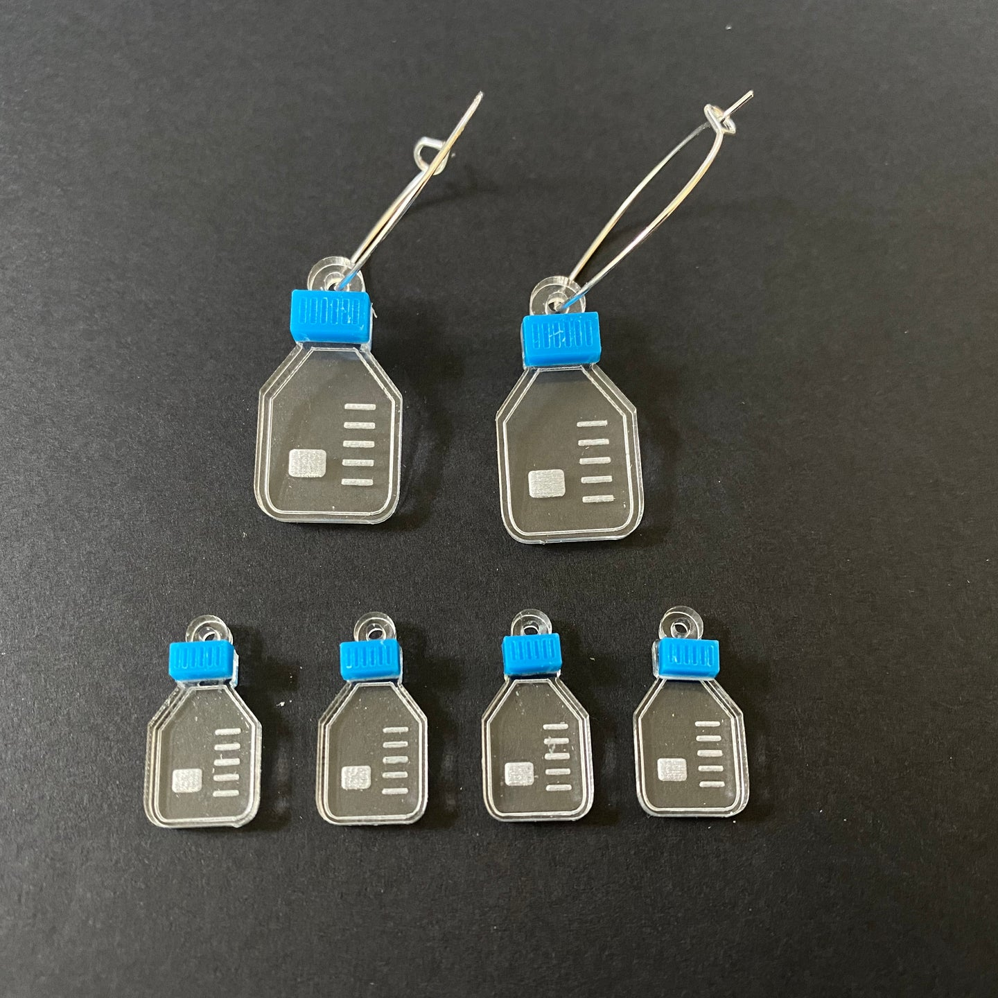 Duran style flask stitch markers or earrings