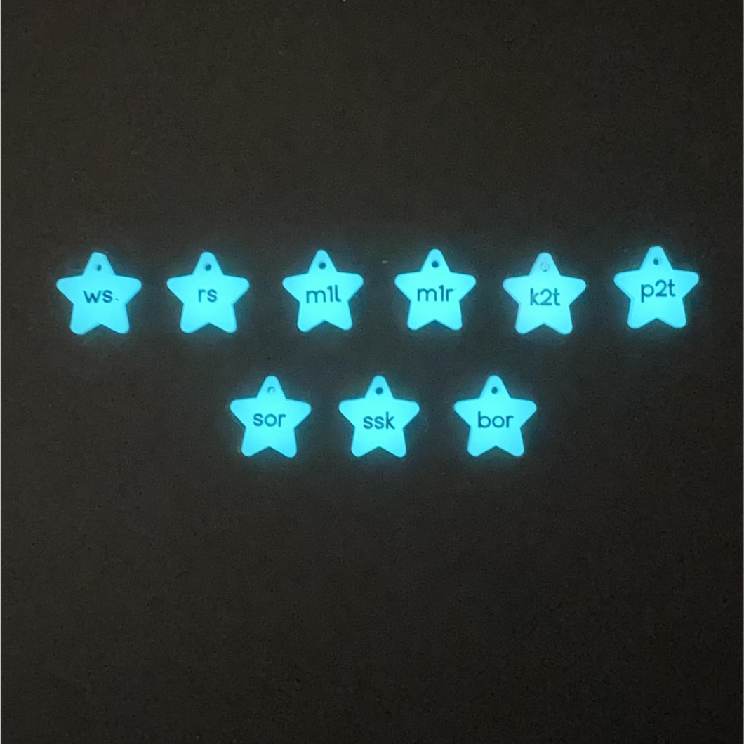 Glow in the dark instructional markers