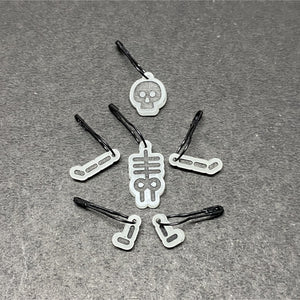 Glow in the dark skeleton stitch markers