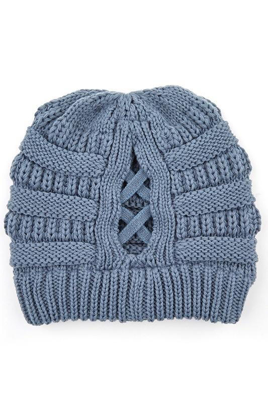 CC Criss-Cross Ponytail Beanie
