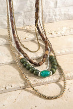 Load image into Gallery viewer, Pine Green Wooden, Metal & Glass Bead Necklace