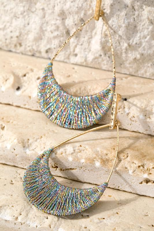 Metallic Woven Thread Golden Earrings