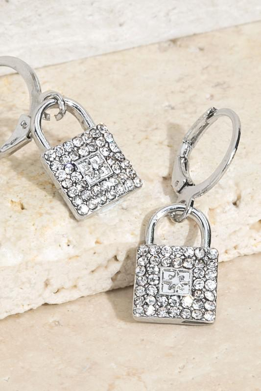 Pave Crystal Lock Earrings