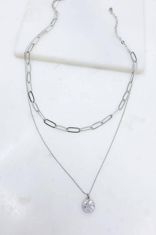 Layered Chain Coin Pendant