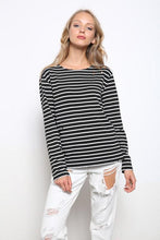 Load image into Gallery viewer, Distressed Black & Ivory Striped Top