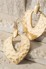 Contemporary Gold Hammered Metal Earrings