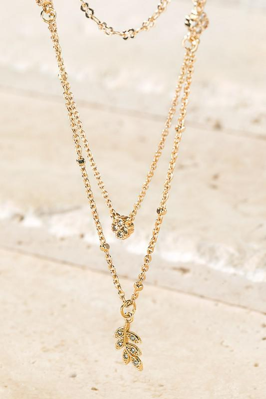 Gold & Crystal Leaf Necklace
